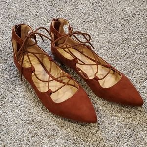 Express faux suede lace up flats